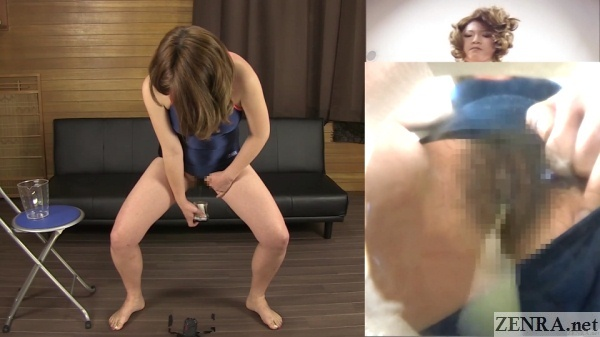 zoomed in japanese woman in swimsuit peeing