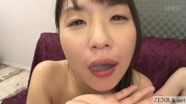 tsubomi with mouth full of cum