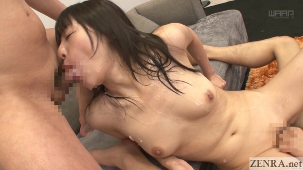 pale tsubomi covered in cum during bukkake sex party