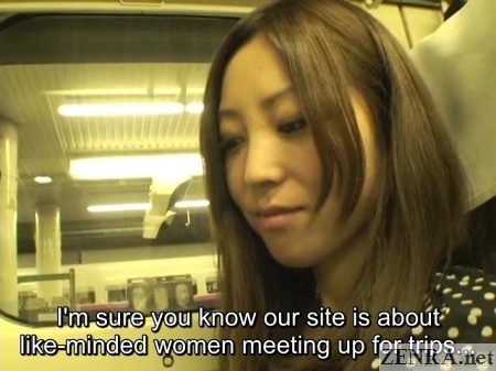 young japanese office lady on shinkansen for onsen vacation