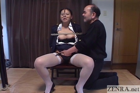 spread japanese woman bound and fingered