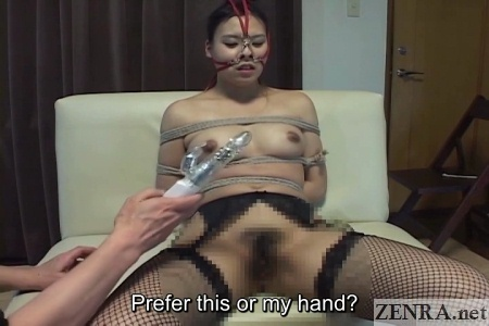 vibrator play with nose hooks and bound woman