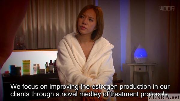 ruri saijou naked under bathrobe listens to massage explanation