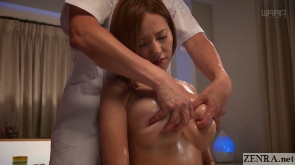 huge japanese breasts all out groped during massage