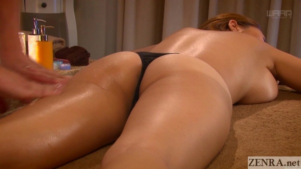 ruri saijou in thong face down for massage