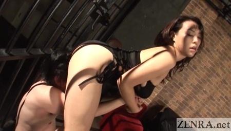 reiko nakamori standing facesitting with slave