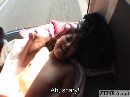 japanese kinky foreplay in moving van with rear door open