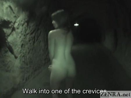 nudist japanese woman in dark cave