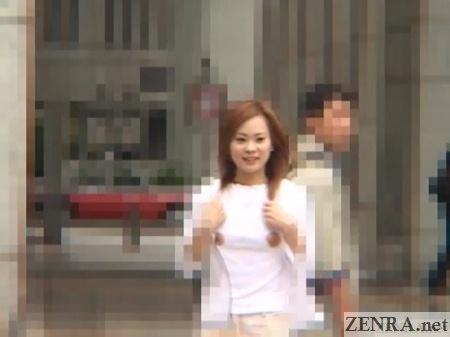 embarrassed gyaru with exposed nipples walks around tokyo