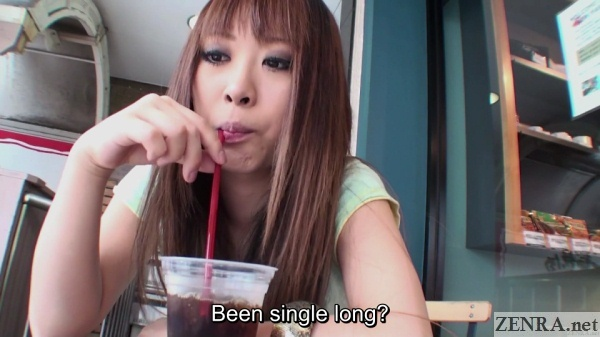 japanese gyaru sips drink during first date