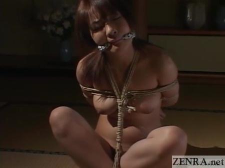 naked bound minaki saotome rests on tatami floor