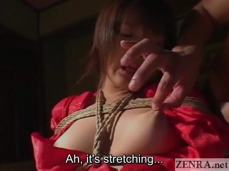 minaki saotome bound with nipple squeezed