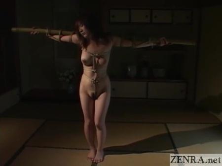 minaki saotome naked bound on bamboo cross