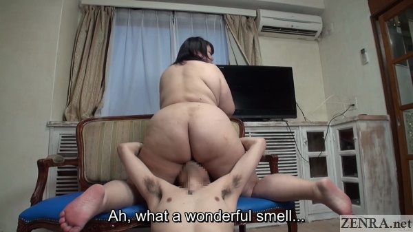 reverse japanese fat woman face sitting butt on display