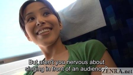 musical loving japanese woman on train