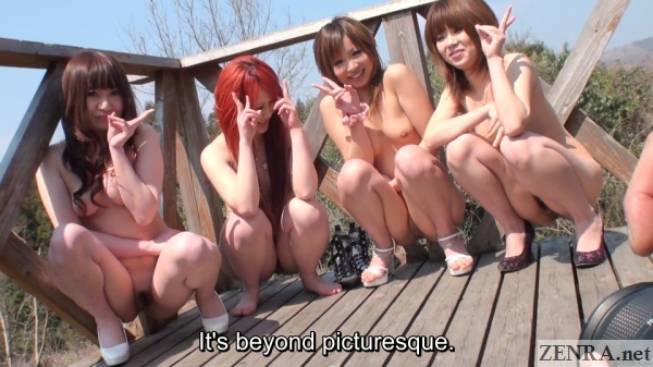 squatting stark naked japanese women giving peace sign