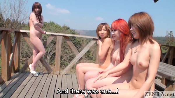 sitting naked japanese women while sole friend stands in embarrassment