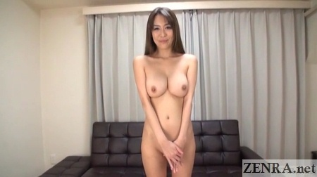 embarrassed naked busty japanese woman hands in front