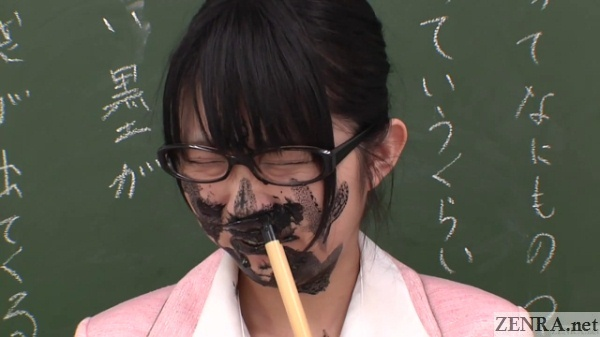 schoolgirl in japan squid ink prank