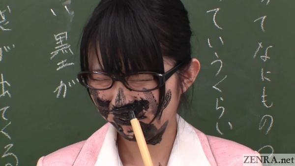 schoolgirl in japan squid ink prank