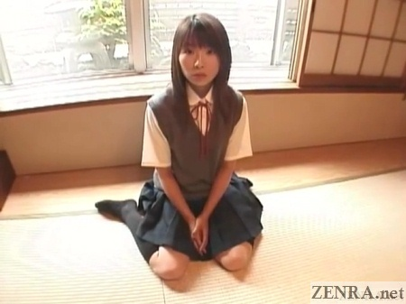 japanese schoolgirl on tatami floor