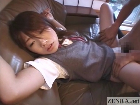 uniformed japanese schoolgirl sex on sofa