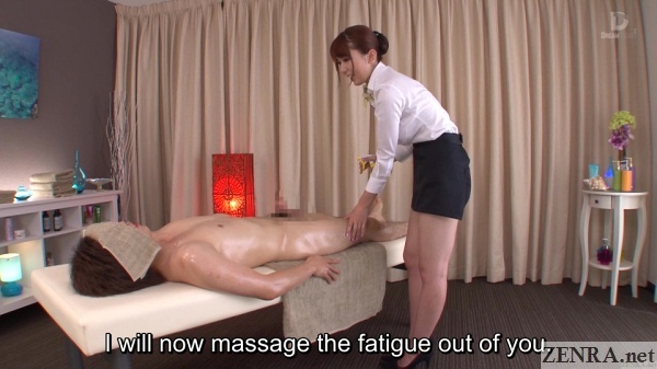 naked client with clothed japanese masseuse