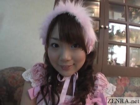 chihiro hasegawa in pink maid uniform