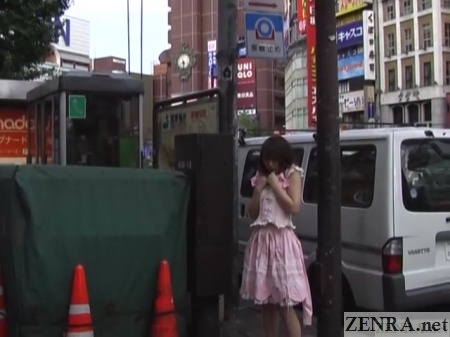 chihiro hasegawa maid uniform outside in tokyo