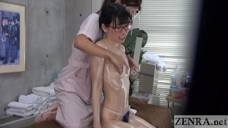 topless oil massage for japanese woman wearing glasses