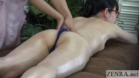 japanese face down oil massage in thong
