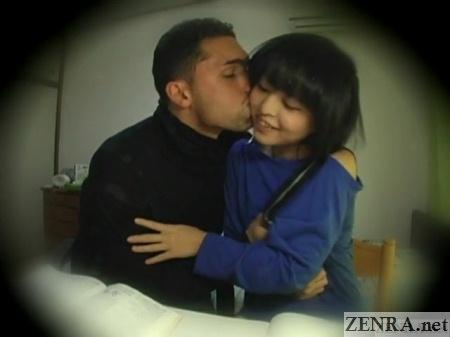 foreign tutor kisses schoolgirl on cheek