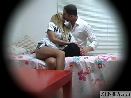 french man kisses japanese gyaru