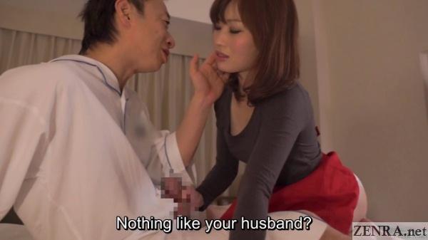 unfaithful japanese masseuse grasps erection