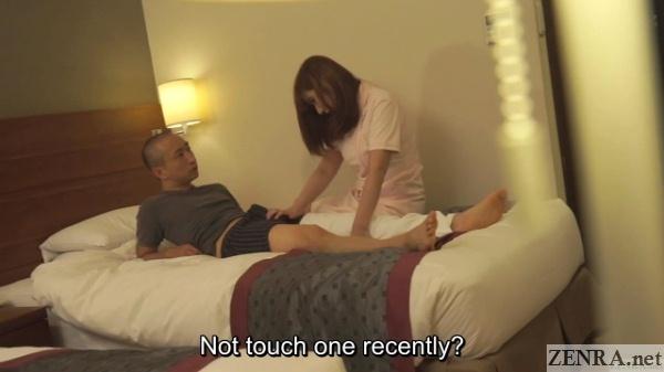 shy hotel masseuse rubs erection