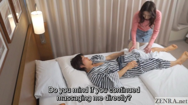 client in yukata receives massage