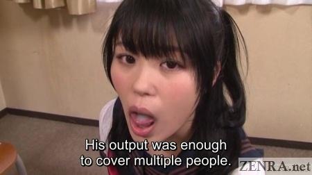 huge cumshot in mouth of elated japanese schoolgirl