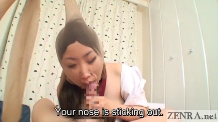 pov blowjob by schoolgirl with pantyhose over head