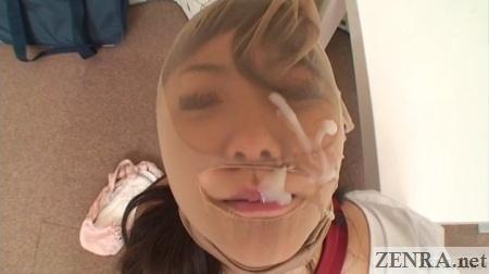 cum over pantyhose head japanese schoolgirl