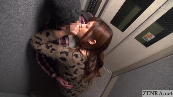 haruki satou kisses amateur man in elevator