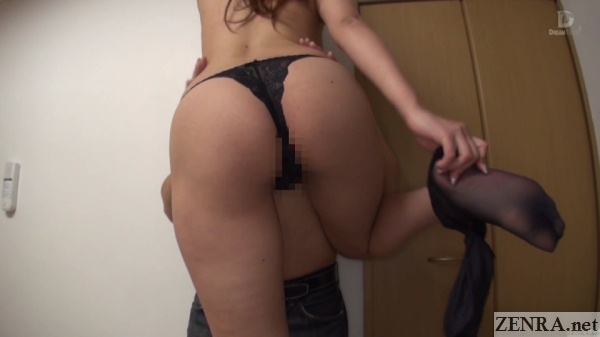 big butt satou haruki strips off pantyhose from behind exposing thong