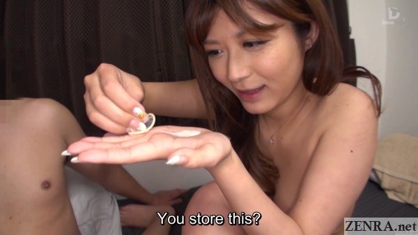 naked satou haruki empties cum out of condom