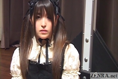 japanese gothic maid prepares for nose play