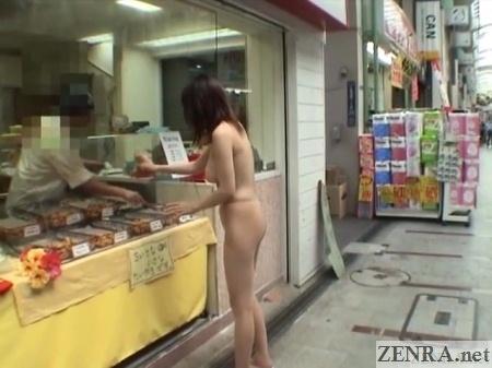 nudist japanese woman at food stall