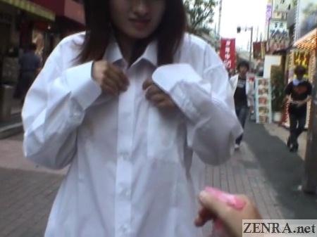 spray bottle sheer shirt in public