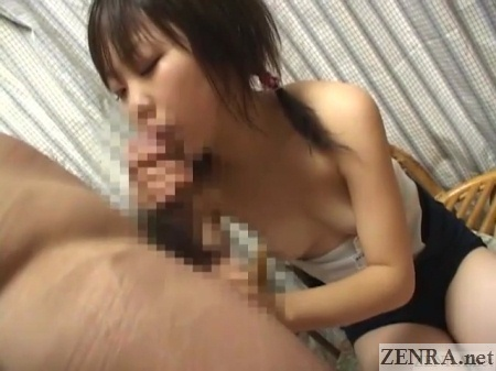 half stripped schoolgirl fellatio
