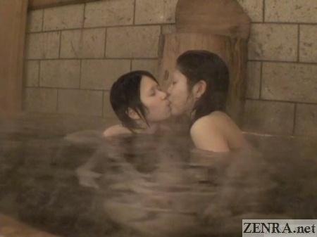 kissing japanese lesbians in onsen