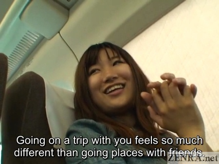 excited japanese student on bullet train