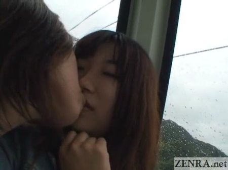 japanese lesbians kissing in cable car