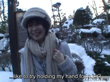 outdoor date in winter with japanese woman